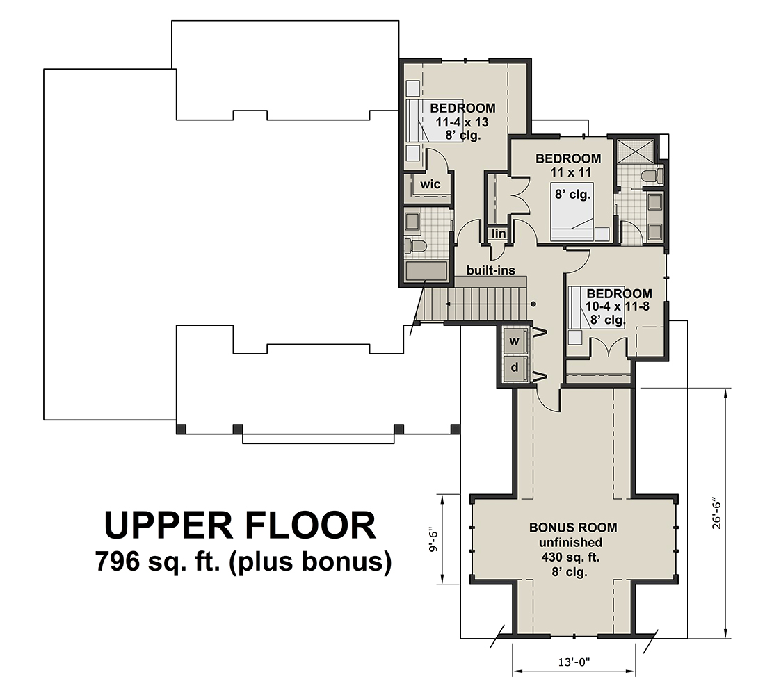 Bonus Room for House Plan #098-00296