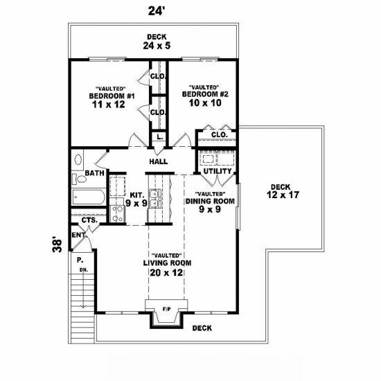 Narrow lot plan 841 square feet 2 bedrooms 1 bathroom for Narrow bathroom floor plans