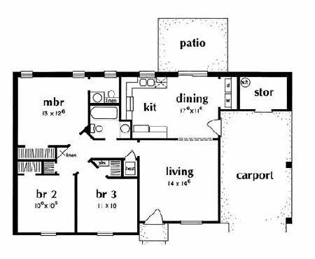 Ranch Plan 988 Square Feet 3 Bedrooms 1 5 Bathrooms