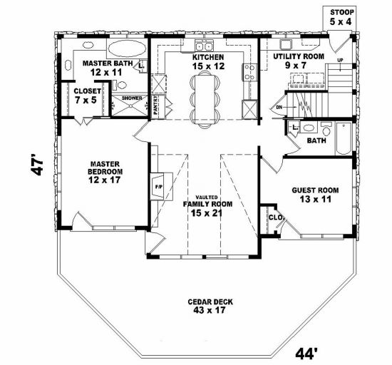 Lake front plan 1 280 square feet 2 bedrooms 2 for 2 bedroom lake house plans