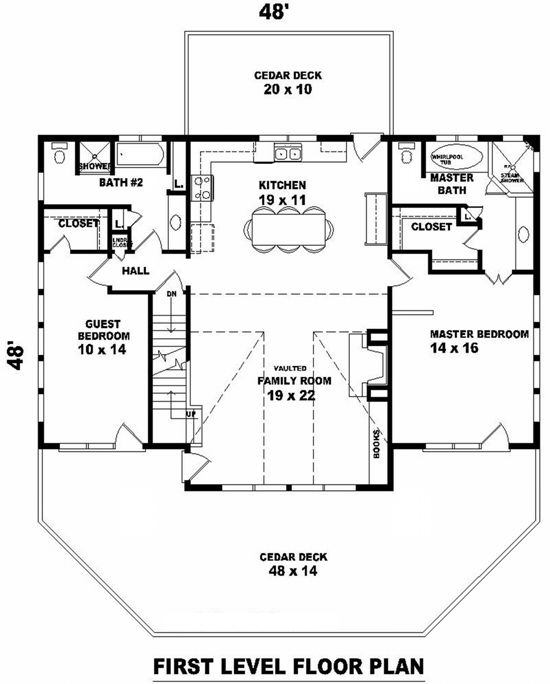 Lake front plan 1 851 square feet 2 bedrooms 2 for 1400 n lake shore drive floor plans