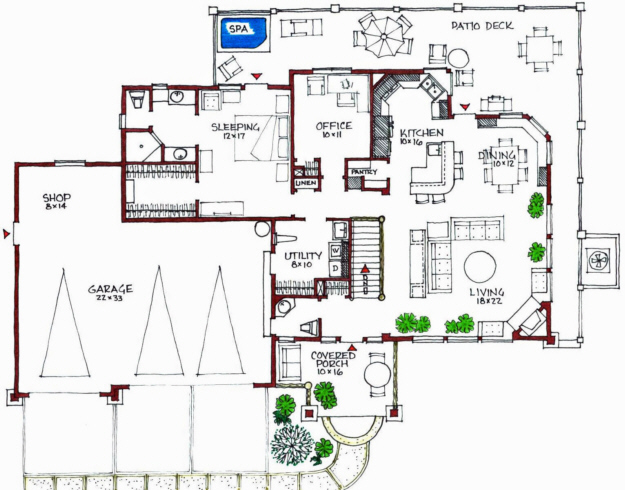 Green plan 2 619 square feet 4 bedrooms 2 5 bathrooms for Passive solar ranch house plans