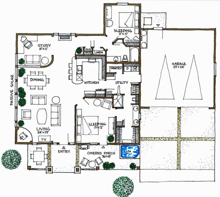 Green plan 1 560 square feet 2 bedrooms 2 bathrooms for Solar house plans with photos