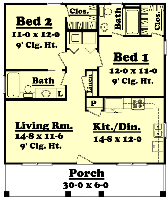 Country Plan 900 Square Feet 2 Bedrooms 2 Bathrooms
