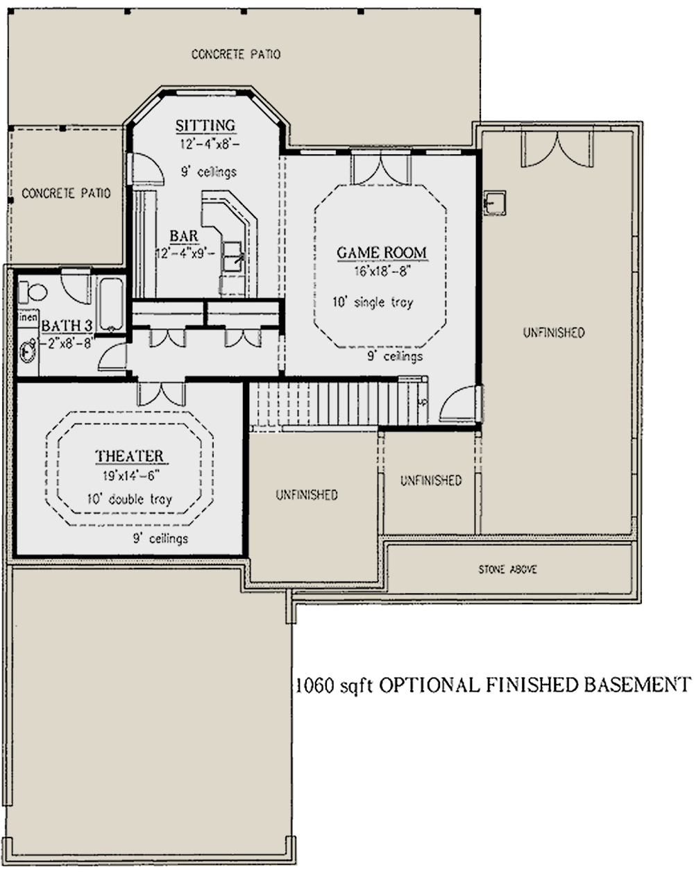 photo  Basement Floor Plan. Country Plan  2 562 Square Feet  4 Bedrooms  2 5 Bathrooms   286 00024