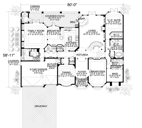 Mediterranean plan 6 412 square feet 7 bedrooms 7 5 for Seven bedroom house plans