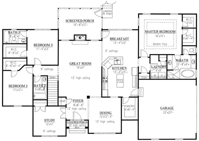 Ranch Plan: 2,310 Square Feet, 3 Bedrooms, 3 Bathrooms - 286-00027 on
