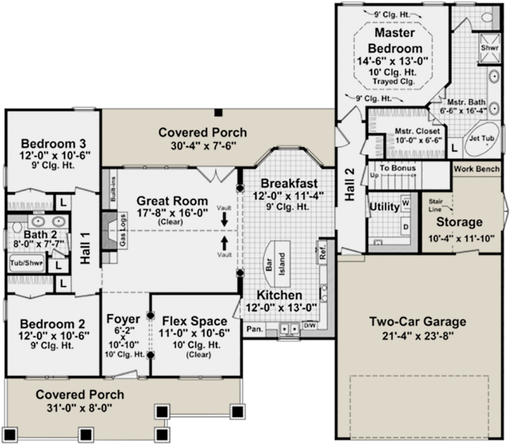Country plan 1 800 square feet 3 bedrooms 2 bathrooms for 1800 sq ft open floor plans