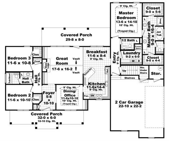 traditional plan: 1,900 square feet, 3 bedrooms, 2.5 bathrooms