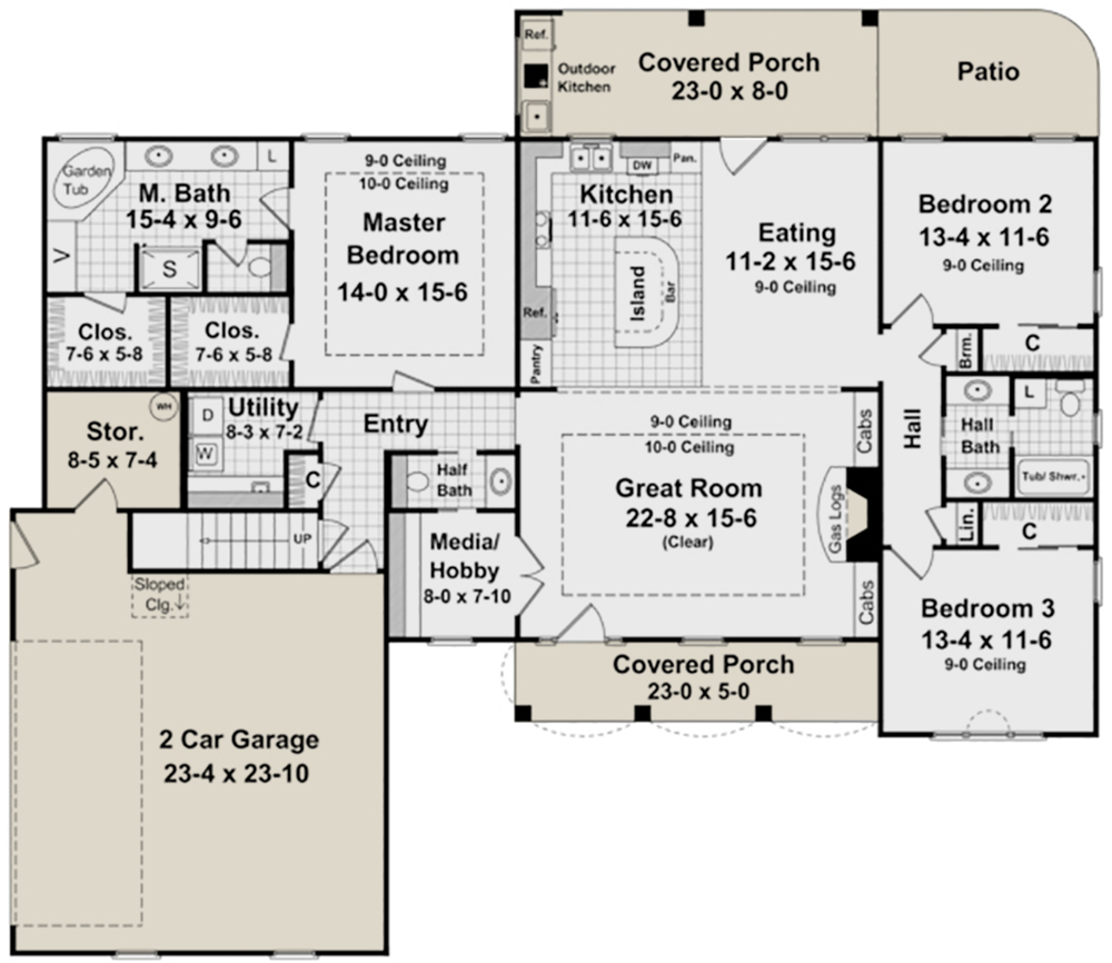 French Country Plan: 2,000 Square Feet, 3 Bedrooms, 2.5