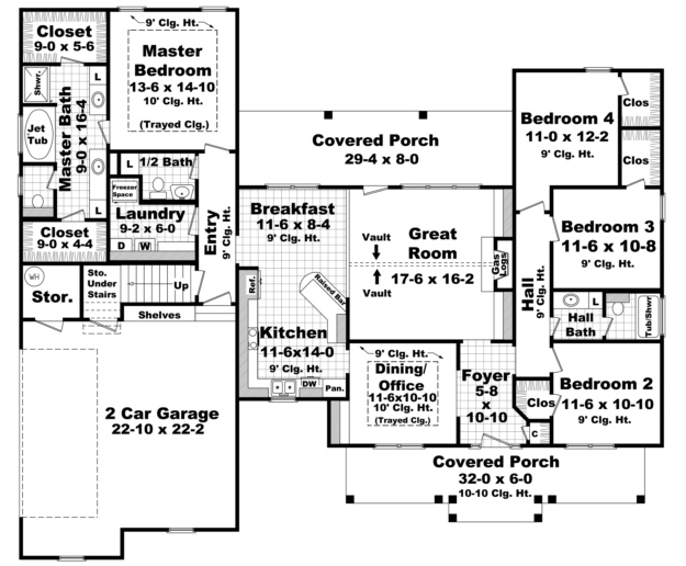 Country plan 2 100 square feet 4 bedrooms 2 5 bathrooms for 2100 sq ft house plans