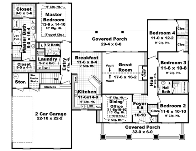 Southern Plan 2 100 Square Feet 4 Bedrooms 2 5