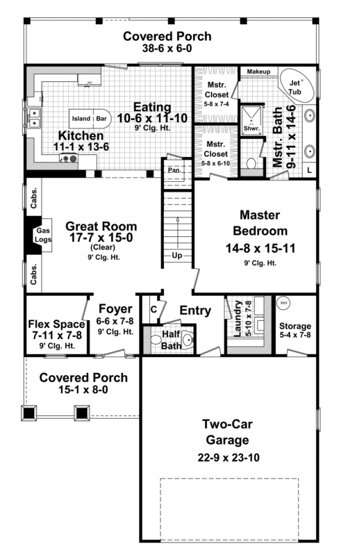 Narrow lot plan 2 300 square feet 4 bedrooms 2 5 for 2300 sq ft house plans