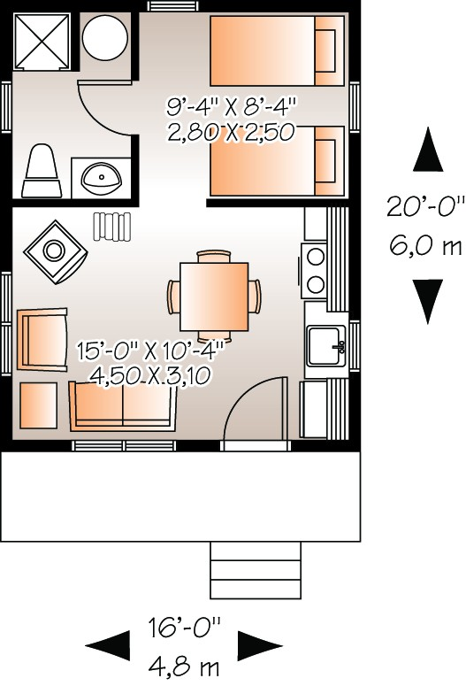 Small plan 320 square feet 1 bedroom 1 bathroom 034 00174 for 320 sq ft