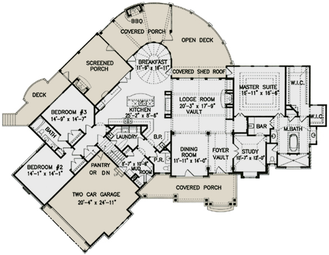 lake front plan: 3,126 square feet, 3 bedrooms, 2.5 bathrooms