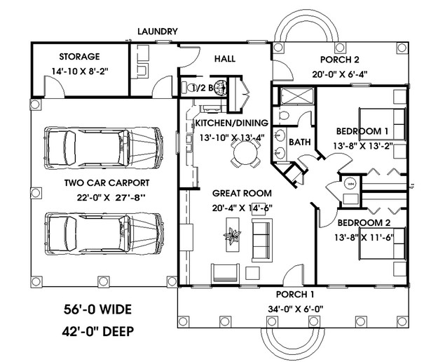 Cottage plan 1 152 square feet 2 bedrooms 1 5 bathrooms for Colonial floor plans open concept
