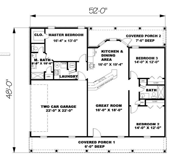 Ranch Plan: 1,500 Square Feet, 3 Bedrooms, 2 Bathrooms