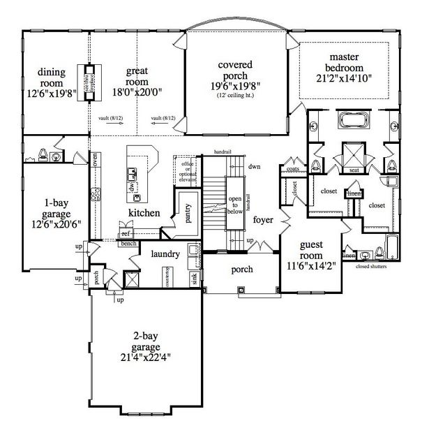 Lake front plan 3 983 square feet 4 bedrooms 5 for Closed kitchen floor plans