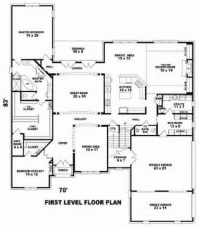 Floorplan 1 for House Plan #053-02159
