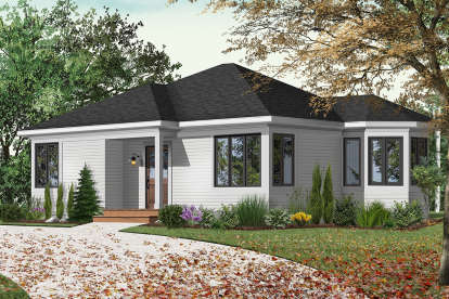 2 Bed, 1 Bath, 994 Square Foot House Plan - #034-00237