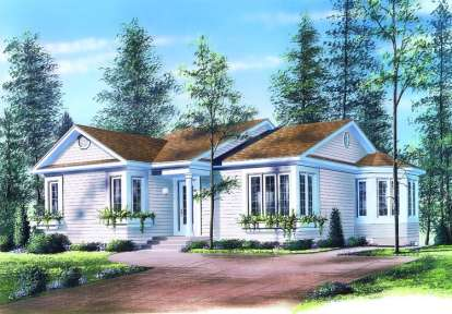 2 Bed, 1 Bath, 1113 Square Foot House Plan - #034-00248