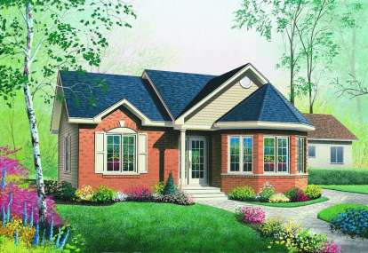 2 Bed, 1 Bath, 994 Square Foot House Plan - #034-00251