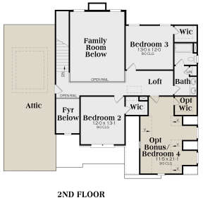 Second Floor for House Plan #009-00085