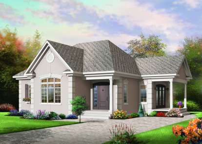 1 Bed, 1 Bath, 1108 Square Foot House Plan - #034-00275