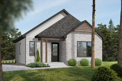 2 Bed, 1 Bath, 864 Square Foot House Plan - #034-00279