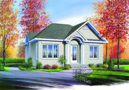 2 Bed, 1 Bath, 832 Square Foot House Plan - #034-00282
