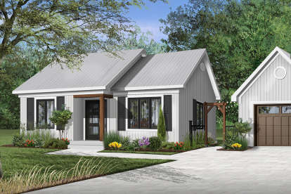2 Bed, 1 Bath, 948 Square Foot House Plan - #034-00286