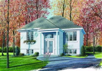 2 Bed, 1 Bath, 878 Square Foot House Plan - #034-00329