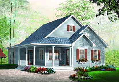 2 Bed, 1 Bath, 1184 Square Foot House Plan - #034-00616