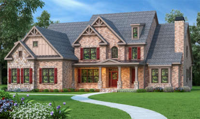 5 Bed, 4 Bath, 4139 Square Foot House Plan - #009-00090