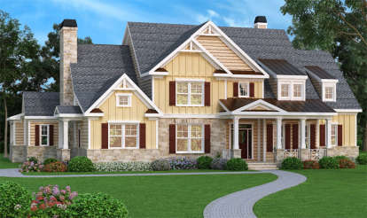 5 Bed, 4 Bath, 4405 Square Foot House Plan - #009-00091