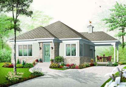 2 Bed, 1 Bath, 992 Square Foot House Plan - #034-00627