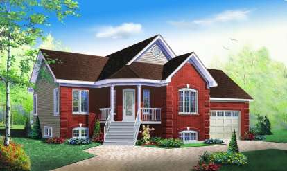 2 Bed, 1 Bath, 1019 Square Foot House Plan - #034-00634