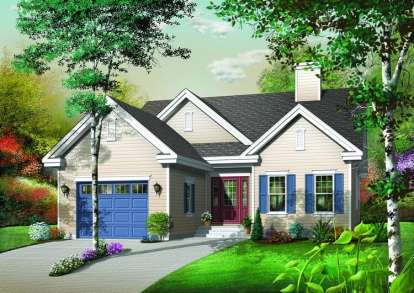 3 Bed, 1 Bath, 1393 Square Foot House Plan - #034-00637
