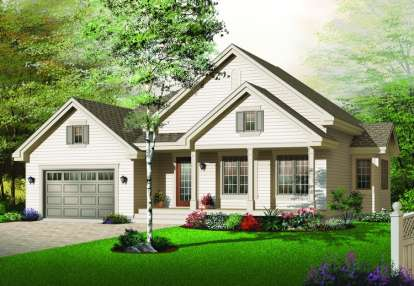 2 Bed, 1 Bath, 1337 Square Foot House Plan - #034-00669