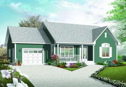 2 Bed, 1 Bath, 1113 Square Foot House Plan - #034-00680