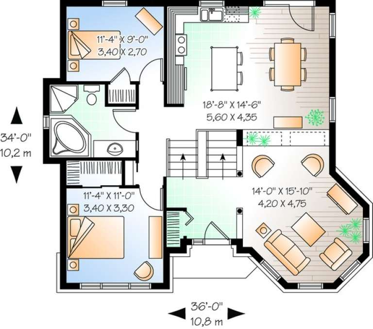 Floorplan 1 for House Plan #034-00696