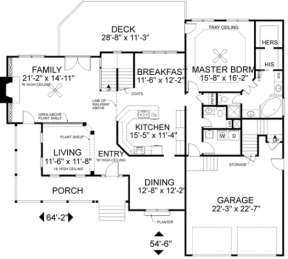 First Floor for House Plan #036-00116