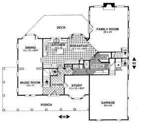 First Floor for House Plan #036-00142