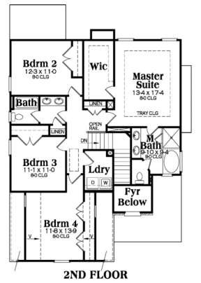 Second Floor for House Plan #009-00098