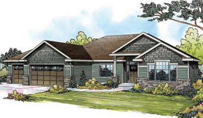 3 Bed, 2 Bath, 2316 Square Foot House Plan - #035-00464