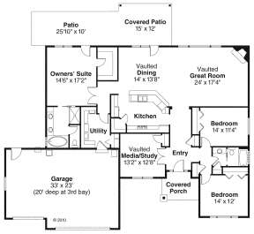 Floorplan 1 for House Plan #035-00464