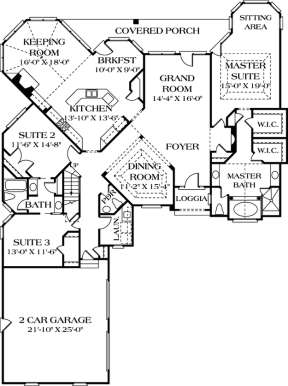 Floorplan 1 for House Plan #3323-00152