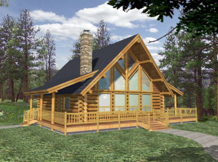 Cabin House Plan #039-00034 Elevation Photo