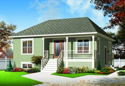 2 Bed, 1 Bath, 973 Square Foot House Plan - #034-00962