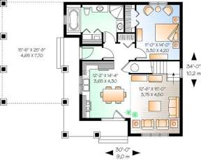 Floorplan 1 for House Plan #034-00991